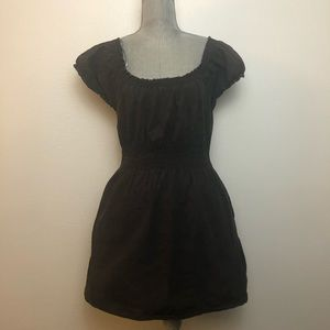 H&M Divided Black Eyelet Peasant Dress